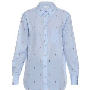 Equipment Blue Kenton Pineapple Cotton Shirt Med